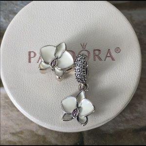Pandora white orchid set charms